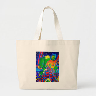 Night Knitting by Piliero Large Tote Bag