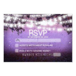 "night lanterns purple wedding rsvp 3.5"" x 5"" invitation card"