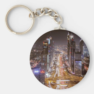 Night Life Basic Round Button Keychain