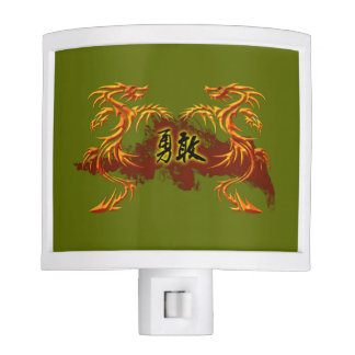 Night light 2 dragons, fire, Chinese symbol brave