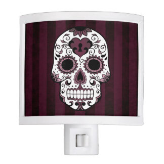 Night Light - Sugar Skull in Red Wine