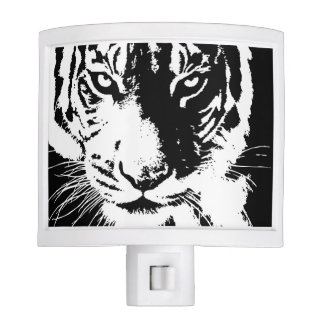 Night light with a black and white print Tiger