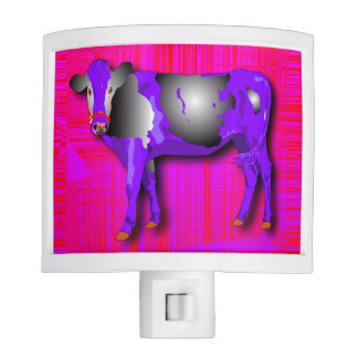 Night light with purple, pink, red, cow design