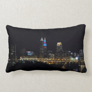 Night Lights Cleveland Ohio Pillow