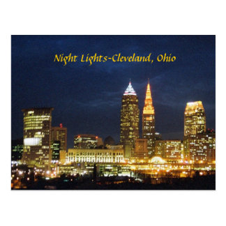 Night Lights Cleveland Ohio Postcard