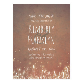 Night Lights Firefly Rustic Country Save the Date Postcard