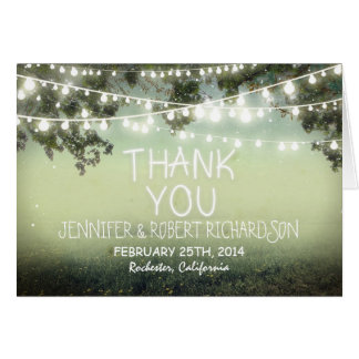 night lights rustic thank you cards