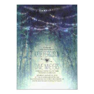 Night Lights Rustic Woodland Wedding Invitations