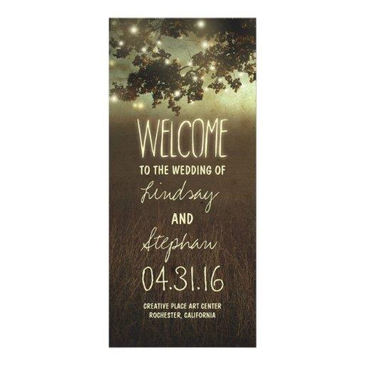 Night lights starry tree wedding programs customized rack card