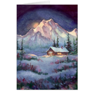 NIGHT LOG CABIN by SHARON SHARPE Card