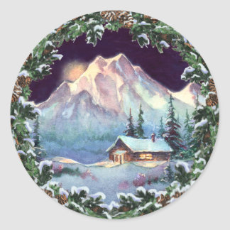 NIGHT LOG CABIN & WREATH by SHARON SHARPE Classic Round Sticker