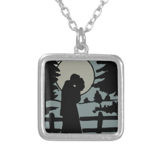 Night love silver plated necklace