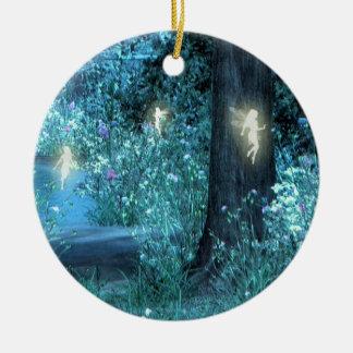 Night Magic fairy flight Orniment Round Ceramic Ornament