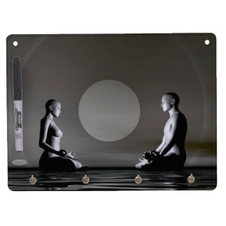Night meditation - 3D render Dry Erase Board With Keychain Holder