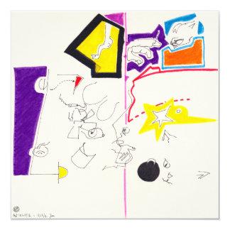 Night & Nap Drawings 2 Cat Smile Square Invitation