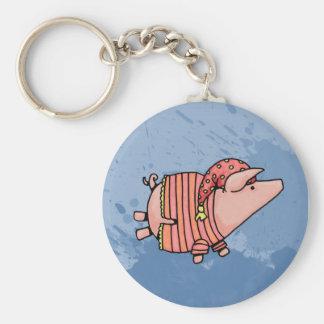 night night piggy basic round button keychain