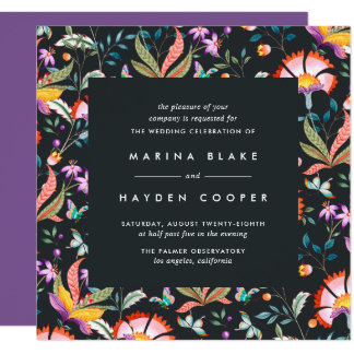 Night Oasis Square Wedding Invite | Ultraviolet