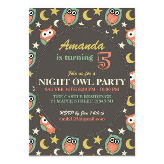 Night Owl Birthday Party Invitation for Kids