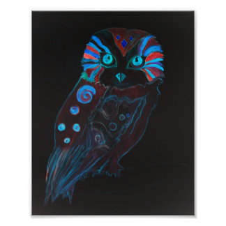 Night Owl Colorful Watercolor Painting Poster
