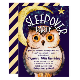 Night Owl Cute Purple Sleepover Slumber Party Card