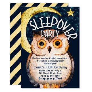 Night Owl Cute Sleepover Slumber Birthday Party Card