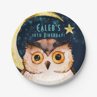 Night Owl Cute Sleepover Slumber Birthday Party Paper Plate