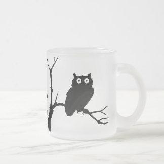 Night owl frosted glass coffee mug