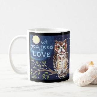 "Night ""Owl Love"" Cute Humorous Owl Coffee Mug Art"