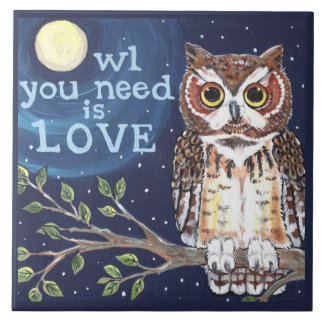 "Night ""Owl Love"" Cute Humorous Owl Designer Tile"