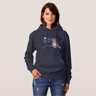 """Night """"Owl Love"""" Hoodie Sweatshirt Original Art"""