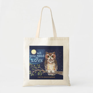 "Night ""Owl Love"" Humorous Owl Tote Bag Personalize"