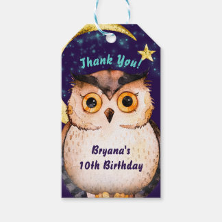 Night Owl Purple Sleepover Slumber Birthday Party Gift Tags