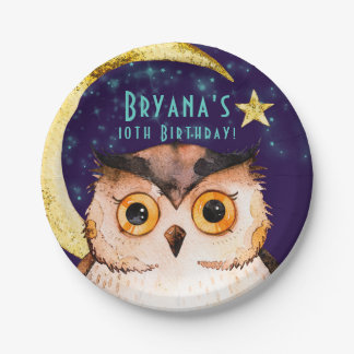 Night Owl Purple Sleepover Slumber Birthday Party Paper Plate