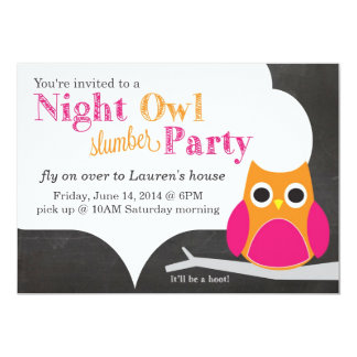 "Night Owl Slumber Party 5"" X 7"" Invitation Card"
