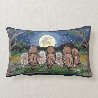 Night Owls Family and Moon Forest Designer Pillow