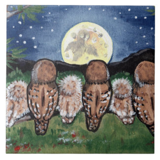 """Night Owls Watching the Moon Starry 6"""" Tile Trivet"""