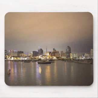 Night San Diego Sailboats Skyline Mouse Pad