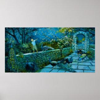 Night Scene in Peacock Garden poster