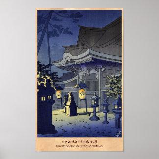 Night Scene of Kitano Shrine Asano Takeji Posters