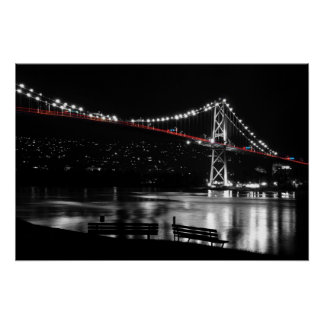 Night scene of Lions Gate in BC Canada Posters