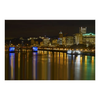 Night Scene of Portland Oregon Poster