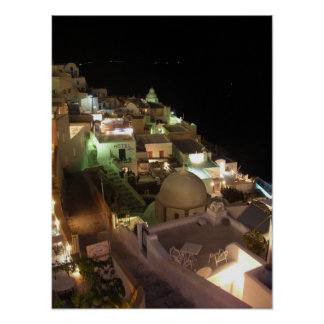Night Scene Santorini Poster