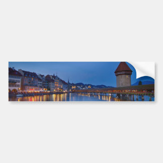 Night sight of Chapel Bridge in Lucerne Bumper Sticker
