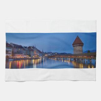 Night sight of Chapel Bridge in Lucerne Kitchen Towel