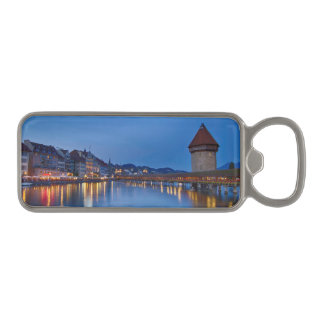 Night sight of Chapel Bridge in Lucerne Magnetic Bottle Opener