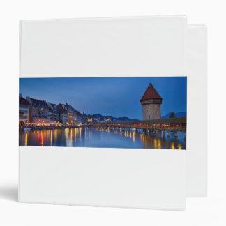Night sight of Chapel Bridge in Lucerne Vinyl Binders