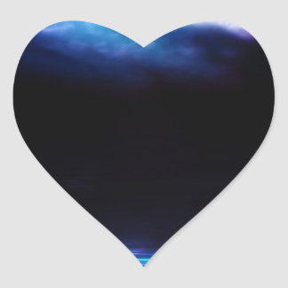 Night Sky and River Heart Sticker