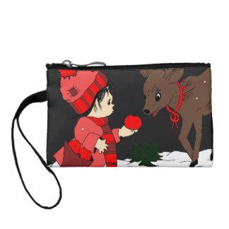 Night sky child feeding reindeer coin purse