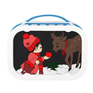 Night sky child feeding reindeer in red lunch box