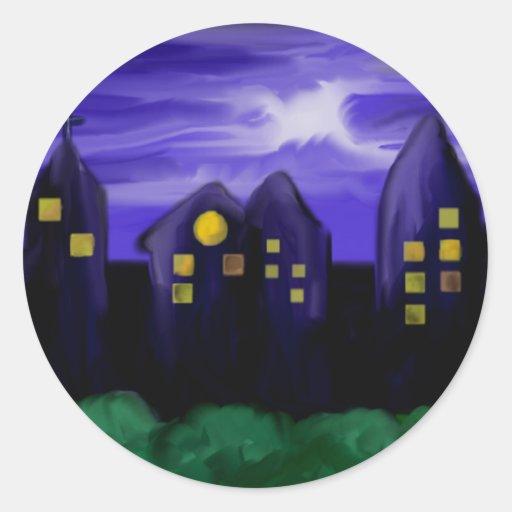 Night sky city skyscrapper canvas art round stickers